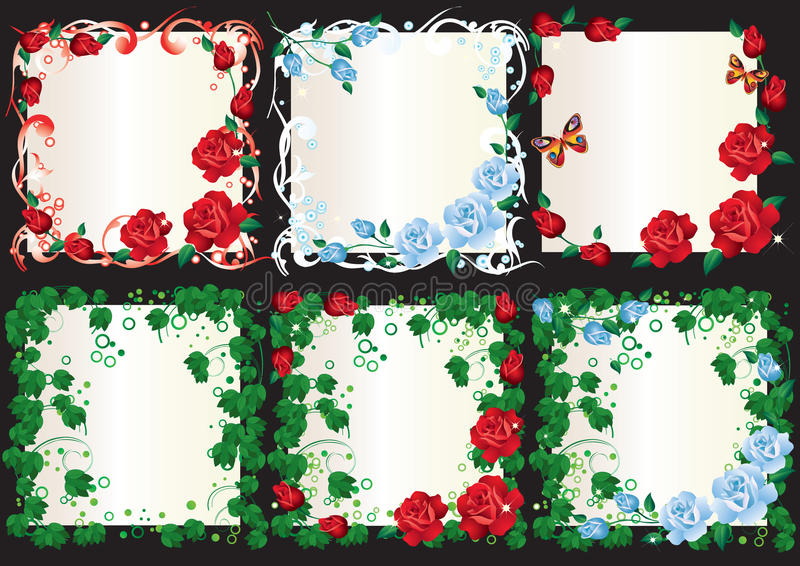 Floral frame. Abstract frame with red and blue roses and green leaves stock illustration