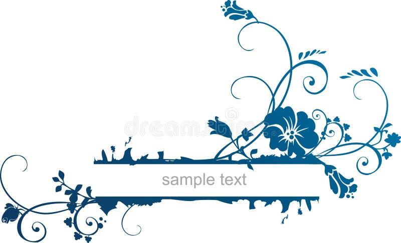 Floral frame. In blue colour