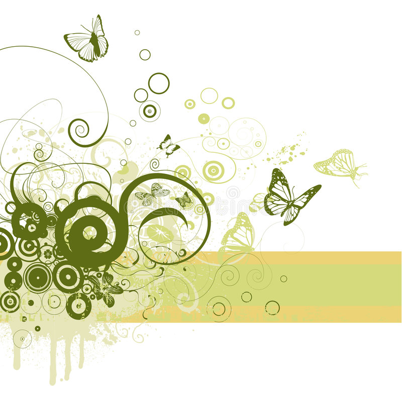 Floral frame. Background with circles and butterflies royalty free illustration