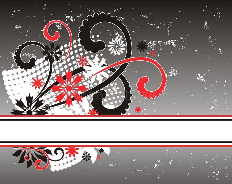 Floral frame. Illustration of grunge floral design background vector illustration