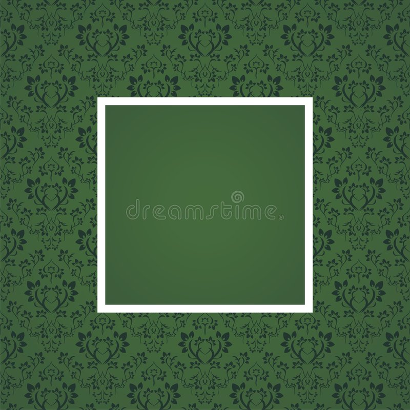 Floral frame. Seamless floral pattern under frame in green color stock illustration