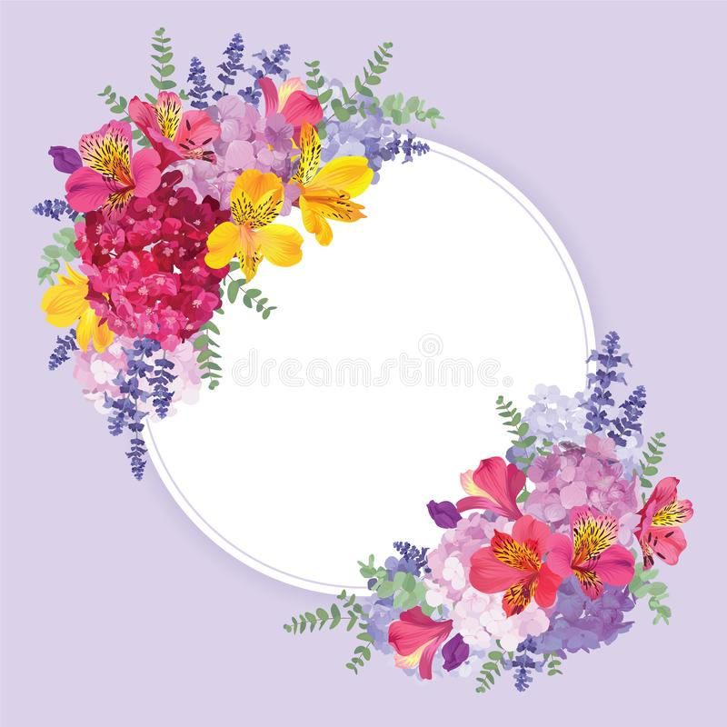 Floral frame with autumn hydrangea flowers, alstroemeria lily, lavender, and leaf on blue in the background. vector illustration