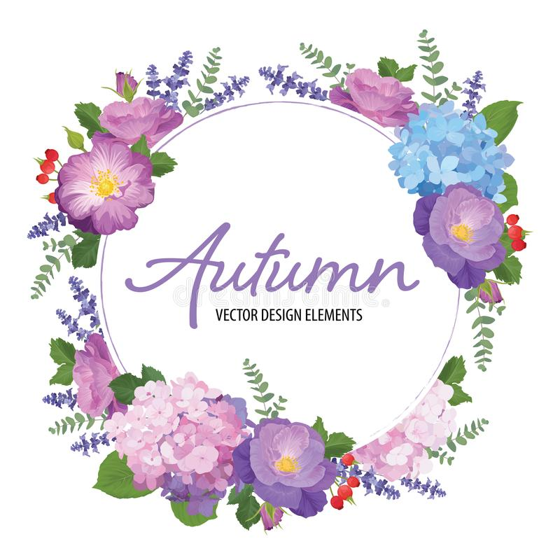 Floral frame with autumn hydrangea flowers, rose and lavender on white background. vector illustration