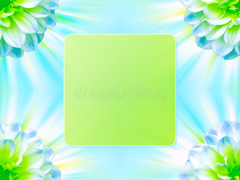 Floral frame background. An illustrated frame with a floral design in blue and green color royalty free illustration