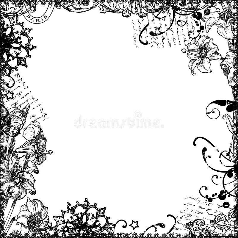 Floral frame background or overlay stock illustration