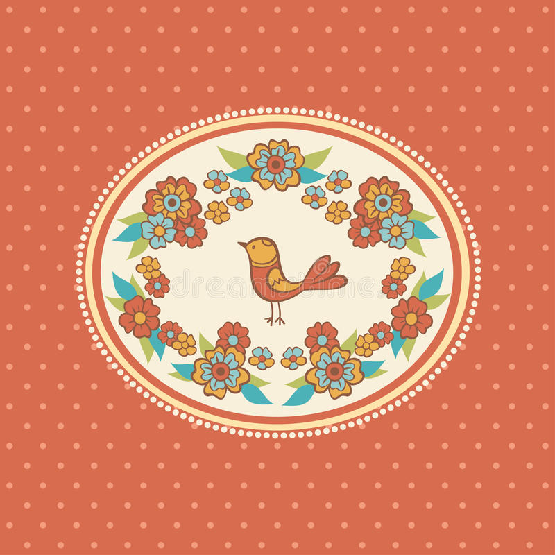 Floral frame with bird. stock illustration