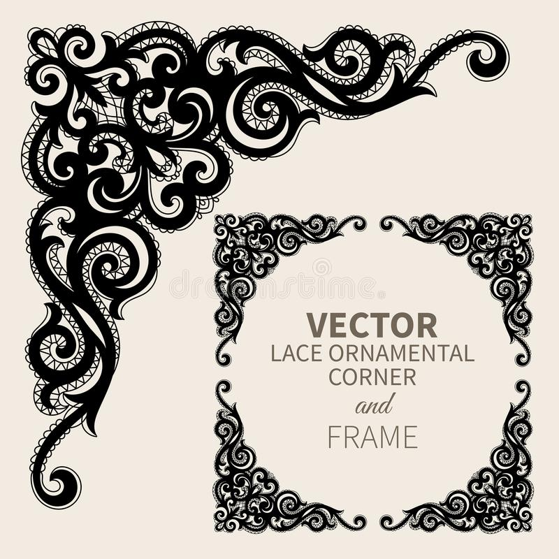 Vector ornamental corner frame stock illustration