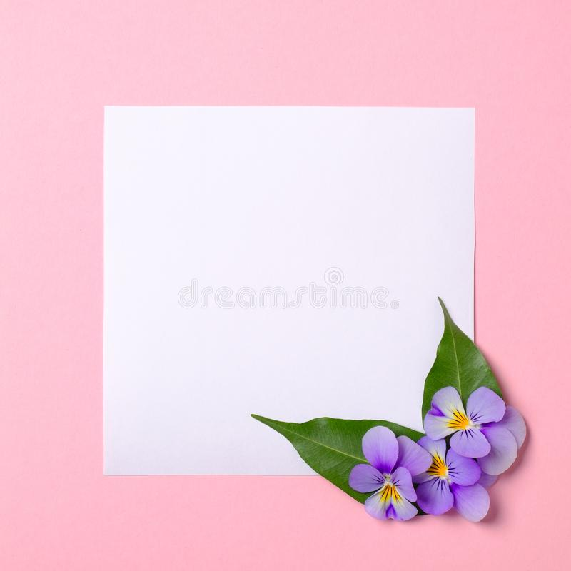 photo relating to Watercolor Floral Border Paper Printable called Template For Greeting Card. Mockup With Bouquets, Petals
