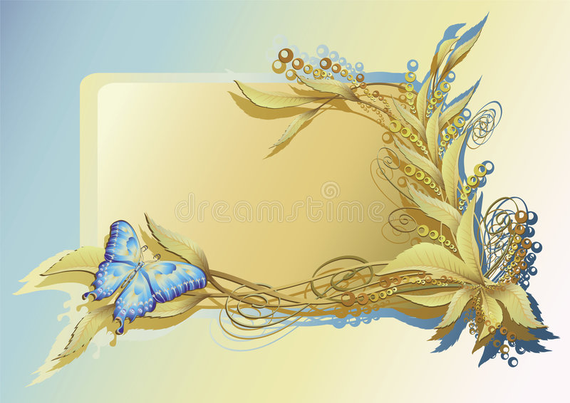 Floral Frame with Butterfly. Elegant floral frame with beautiful butterfly
