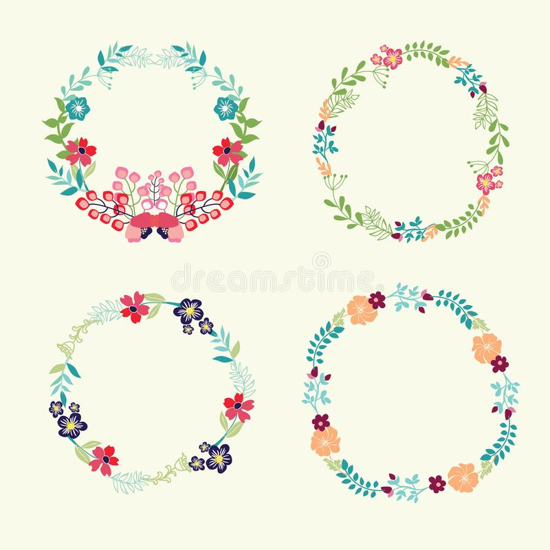 Floral Frame Collection retro flowers wreath. Can be used as creating card, invitation card for wedding, birthday and and cute summer background stock illustration