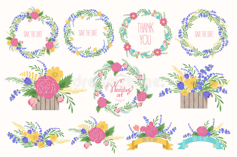 Floral Frame Collection. Wedding set flowers, wreaths, ribbons. stock illustration