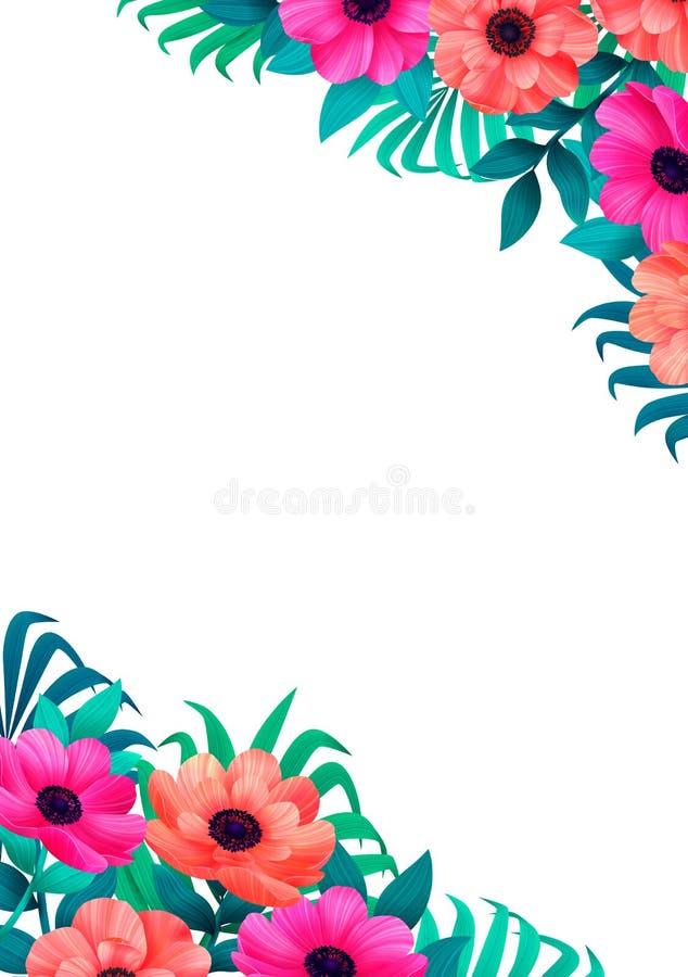 Floral frame, corner design. Beautiful wild garden. Color pencil digital illustration. Vertical Design with beautiful vector illustration