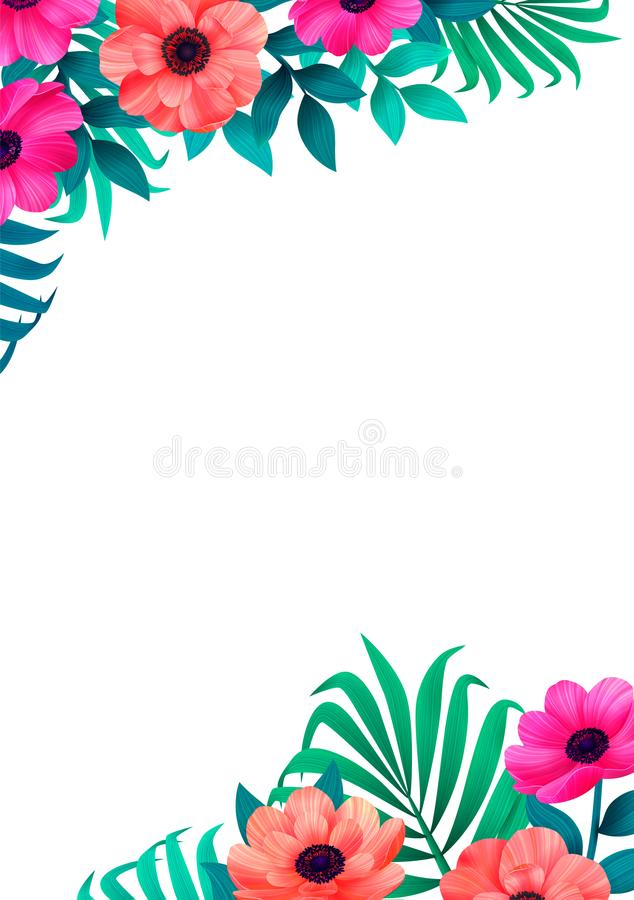 Floral frame, corner trendy tropical design. Vertical Design with beautiful tropic flowers and copy space on white stock illustration