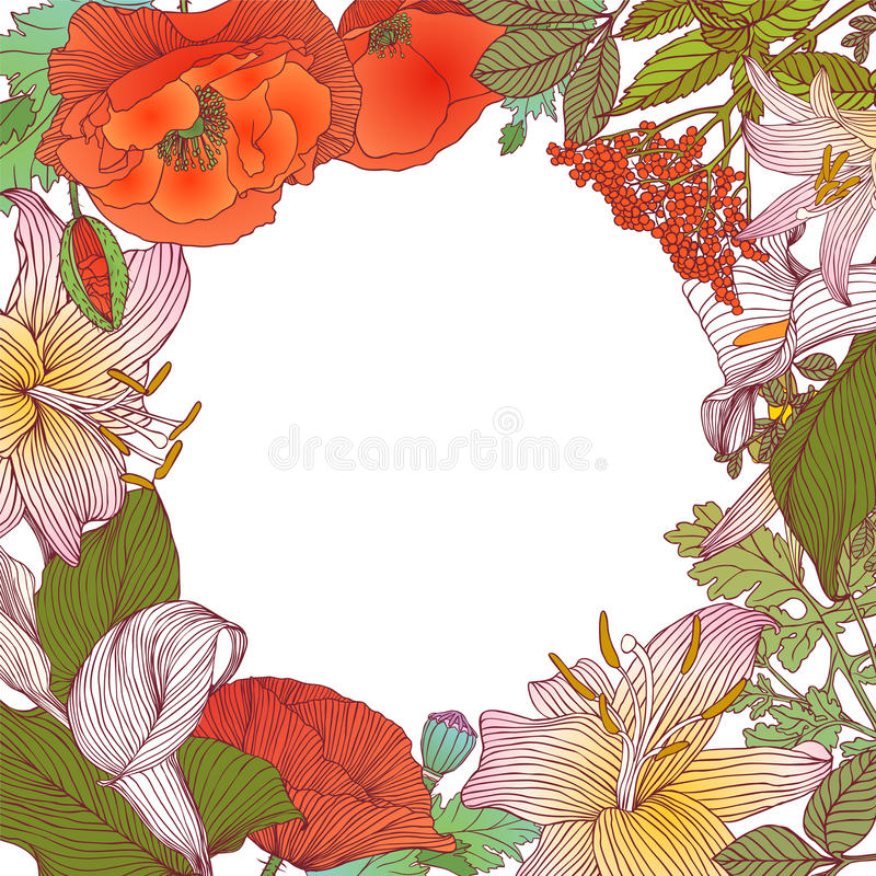 Floral frame of different flowers. Vector background. Colorful floral frame of different flowers. Vector background stock illustration