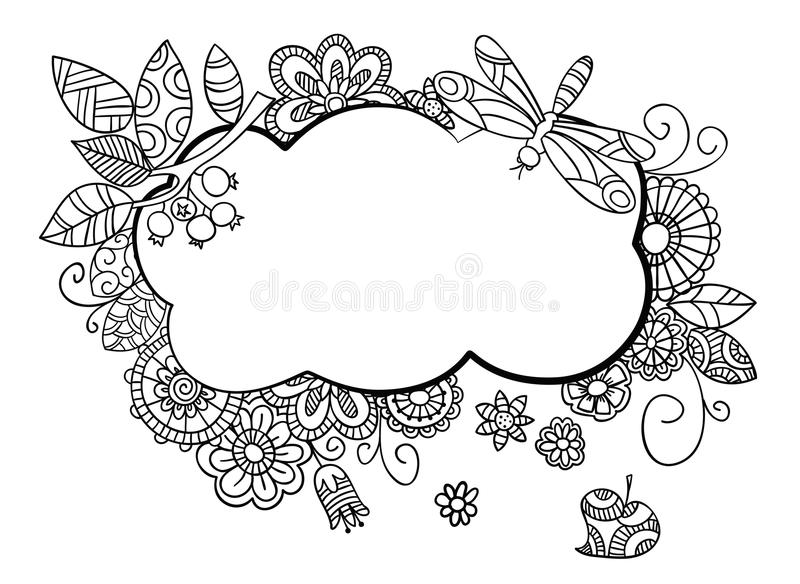 Floral frame in doodle style. Floral frame in doodle style with place for your text. Hand drawn sketch vector illustration