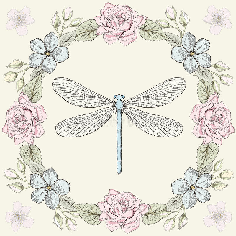 Floral frame and dragonfly engraving style. Hand drawn floral frame and dragonfly. Colorful illustration. Vintage engraving style vector illustration