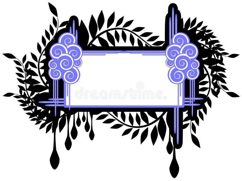 Floral frame in black and blue isolated. Elegant floral frame in blue tones, usable as label or decoration vector illustration