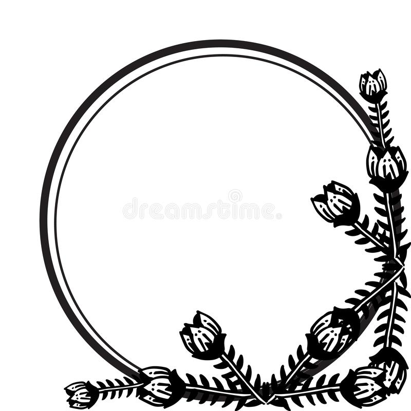 Floral frame with feature unique, for various design of cards. Vector. Illustration royalty free illustration