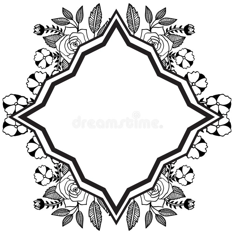 Floral frame with feature unique, for various design of cards. Vector. Illustration stock illustration