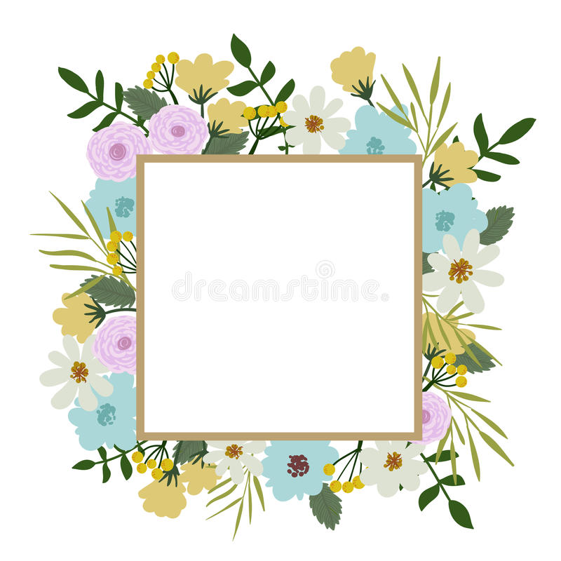 Floral frame. Flower bouquet vintage cover. Flourish card with with place for your text royalty free illustration