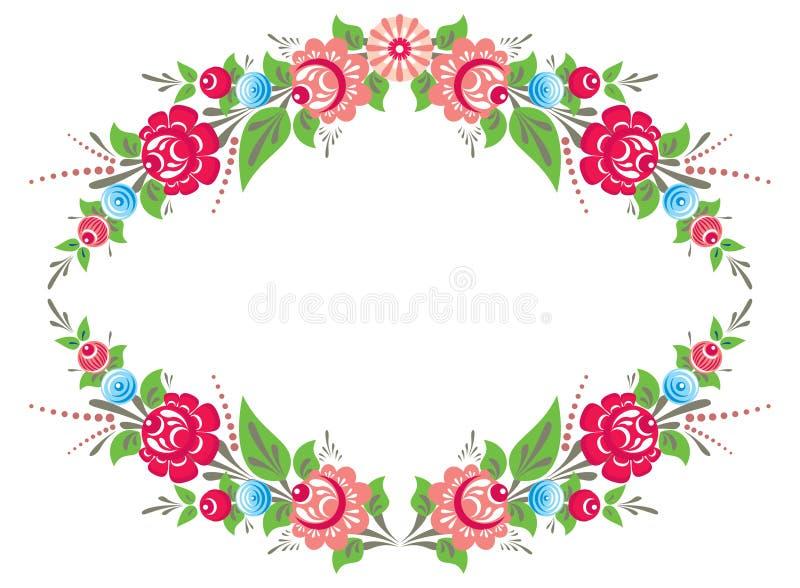 Floral frame in folk style vector illustration