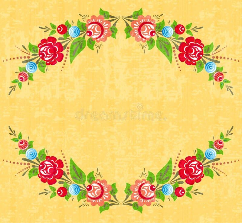 Floral frame in folk style stock illustration