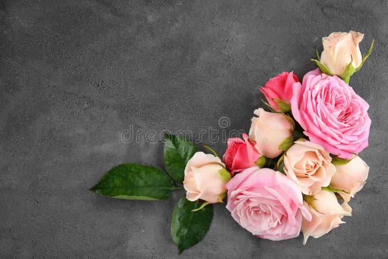 Floral frame. On grey background stock image