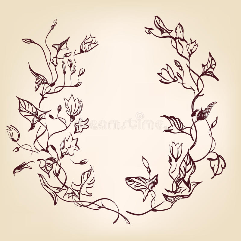 Download Floral Frame  Hand Drawn Vintage Royalty Free Stock Photos - Image: 26861428