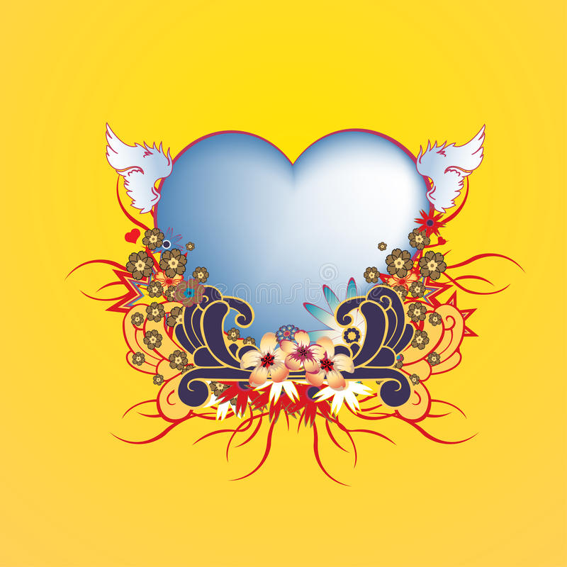 Floral frame with heart shape royalty free stock photos