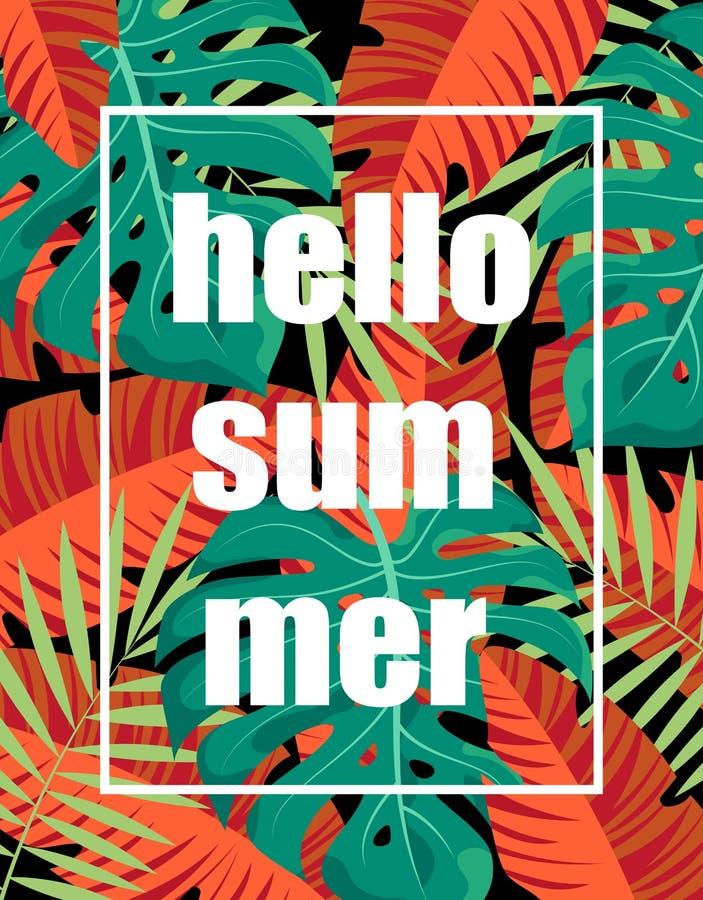 Floral frame hello summer stock illustration
