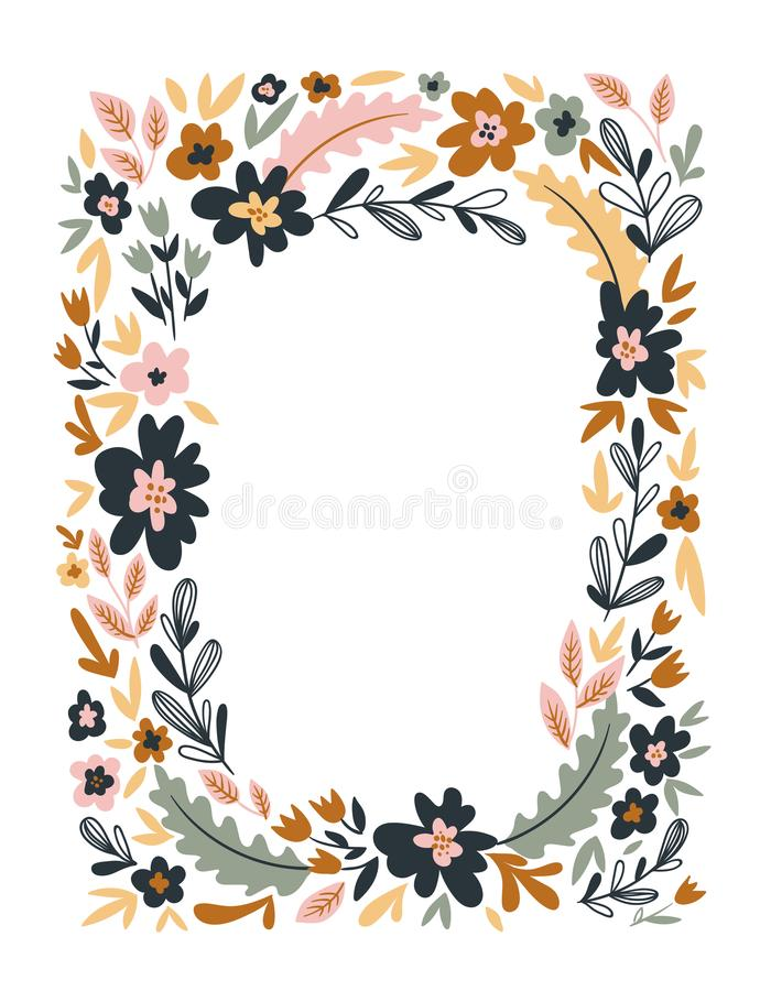 Vector floral frame isolated on the white background. Cute flat floral wreath perfect for wedding invitations and birthday cards. royalty free illustration