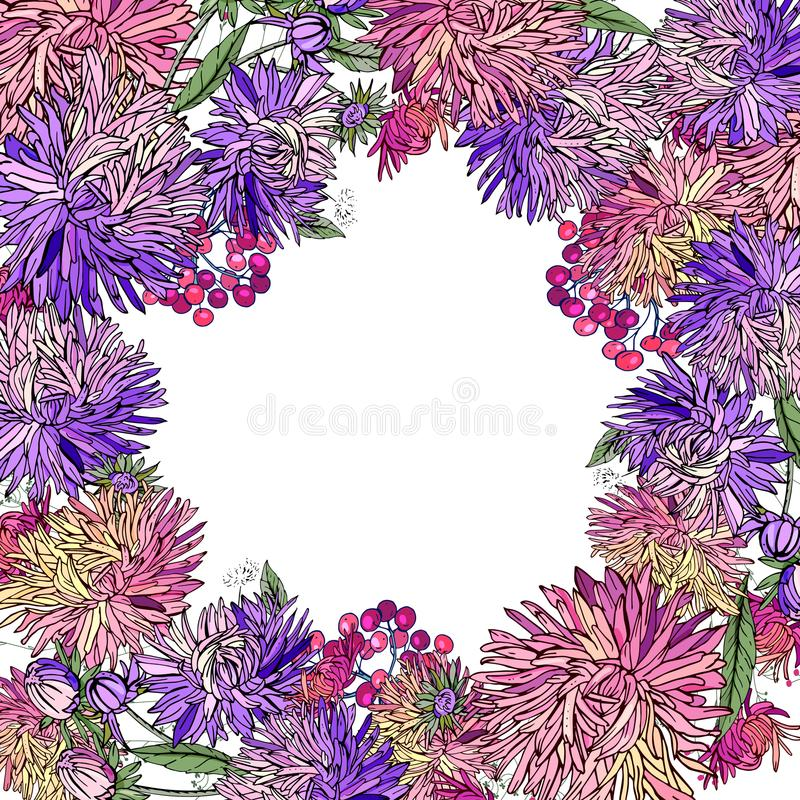 Floral frame made of different asters. royalty free illustration