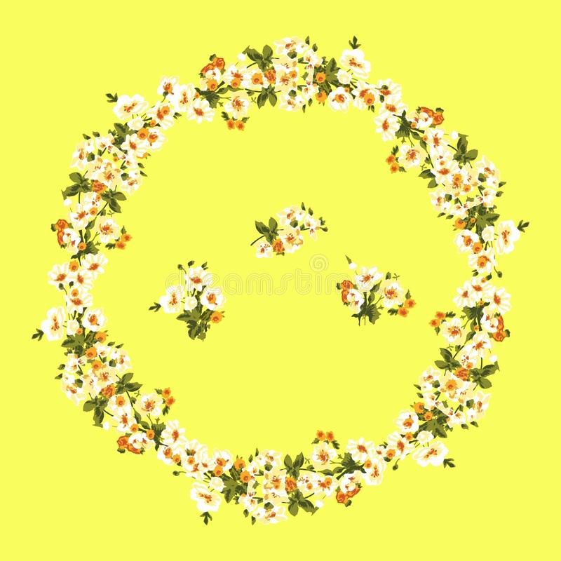 Floral frame made of different freesias on yellow background. Flower garland with a flower composition can be used for royalty free illustration