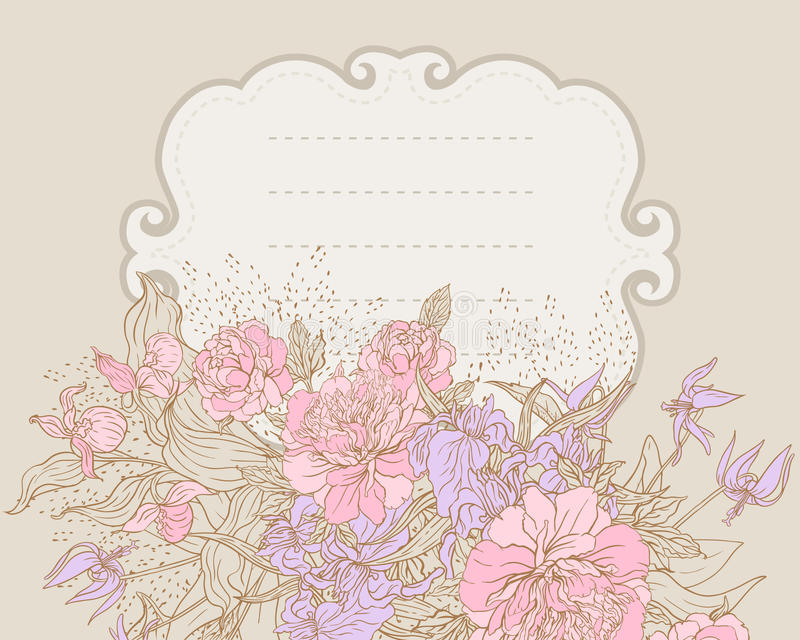 Floral frame with peony vector illustration