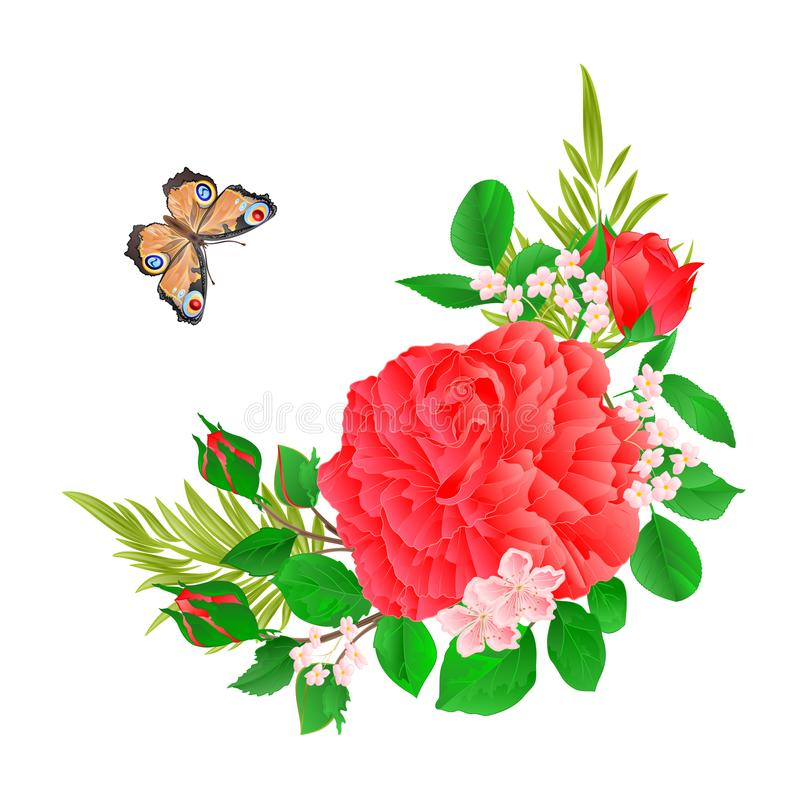 Floral frame with pink Rose and butterfly vintage festive background vector illustration editable stock illustration