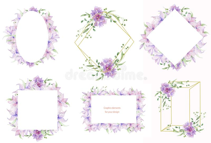 Floral frames with pink flowers and decorative leaves. Watercolor Invitation design horizontal. Background to save the date.Greeti stock illustration