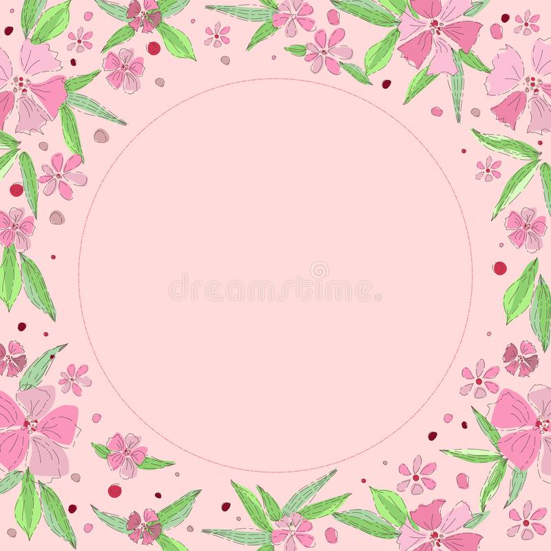 Floral frame, place for your text. Beautiful pink flowers on a pink background. Wedding style, birthday. Hand-drawn. Floral frame, place for your text. Beautiful royalty free stock photo