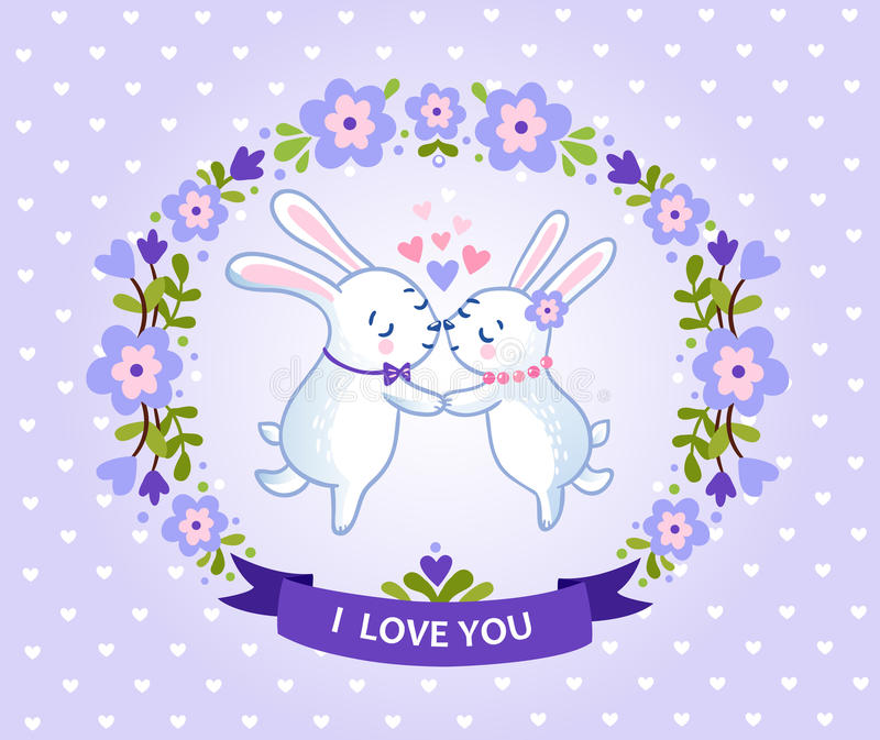 Floral frame for romantic holiday designs. Happy valentines day card with symbol of heart and two bunnies lovers vector illustration