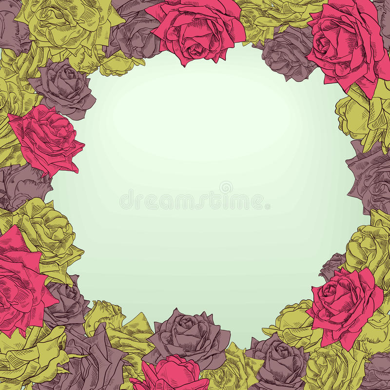 Download Floral frame with roses stock vector. Image of plants - 32791049