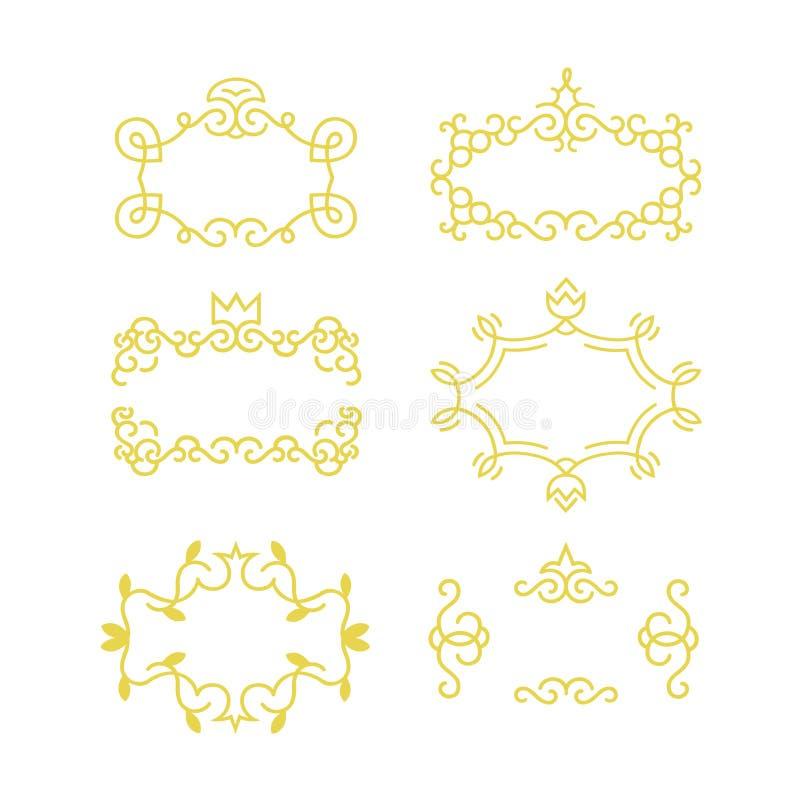 Golden frame set made in modern line style vector. vector illustration