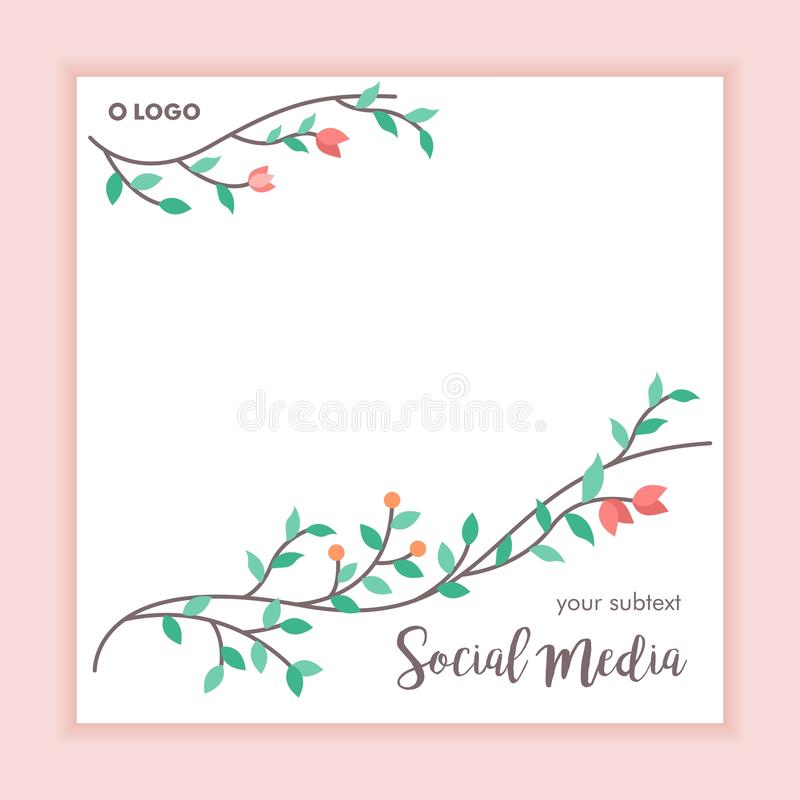 Floral frame social media post background. Instagram, whatsapp or etc vector illustration