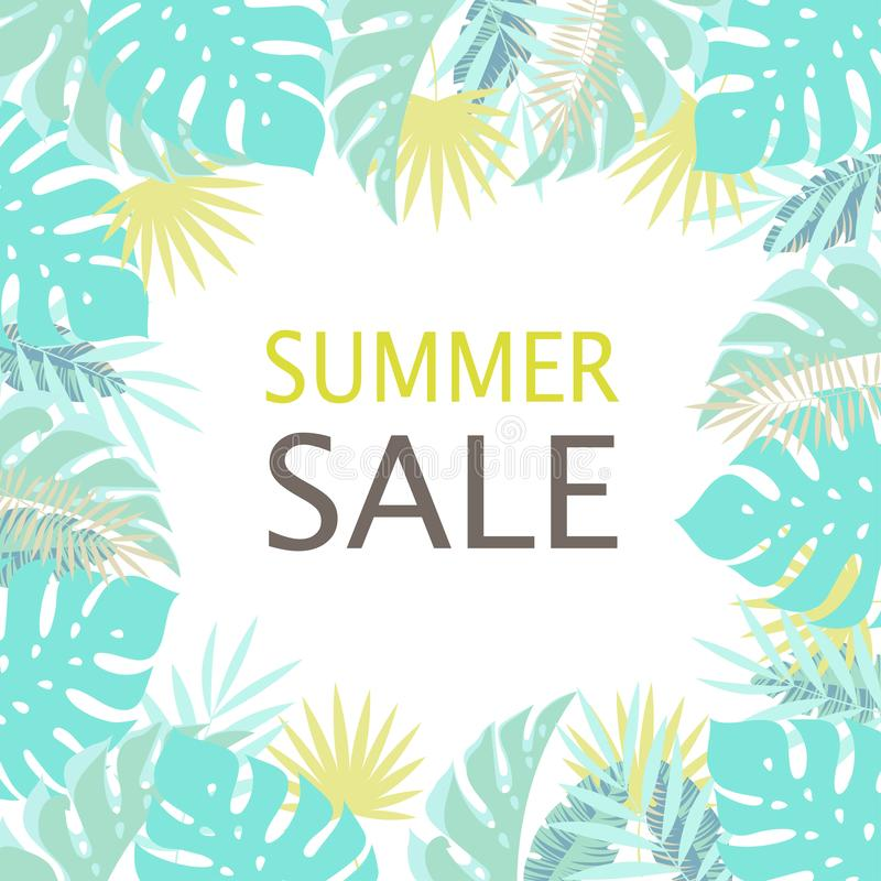 Floral frame summer sale stock illustration
