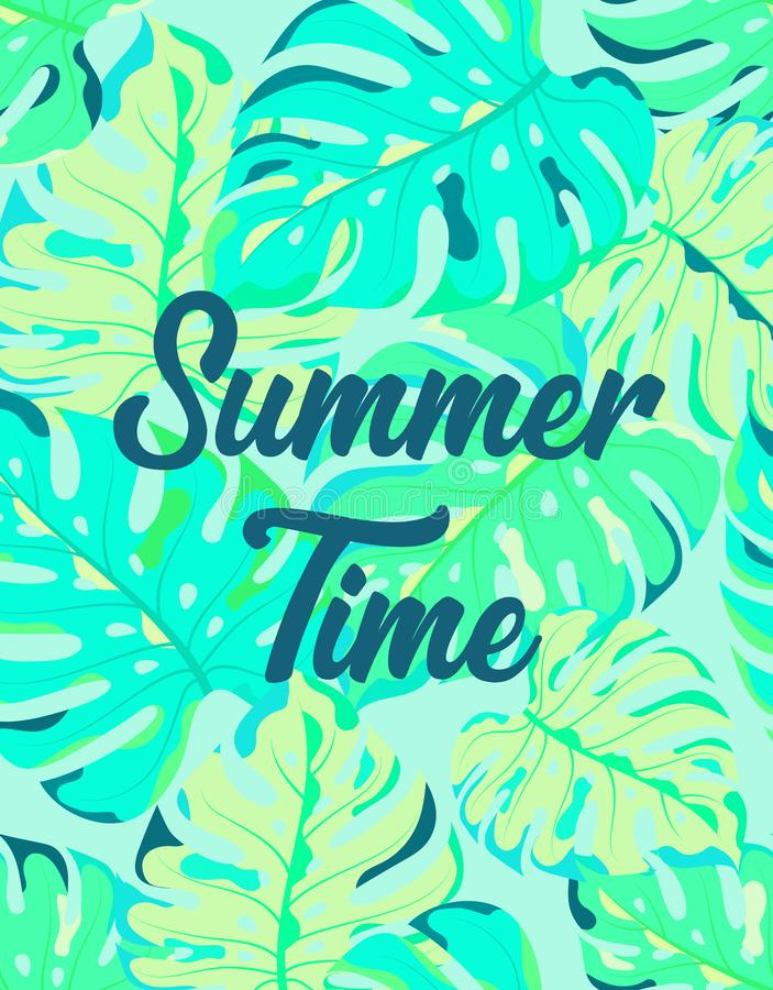 Floral frame summer time. Summer time season poster with exotic palm leaf, summer holidays and tropical beach vacation banner with jungle floral plan of palm vector illustration