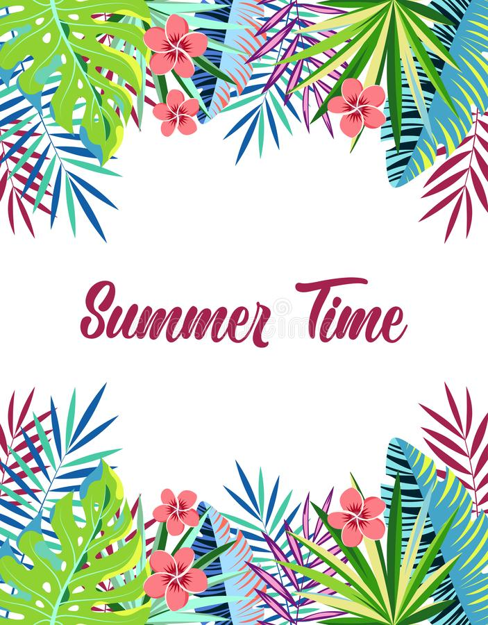 Floral frame summer time. Summer time season poster with tropical plants and exotic palm leaf, summer holidays and tropical beach vacation banner with jungle vector illustration