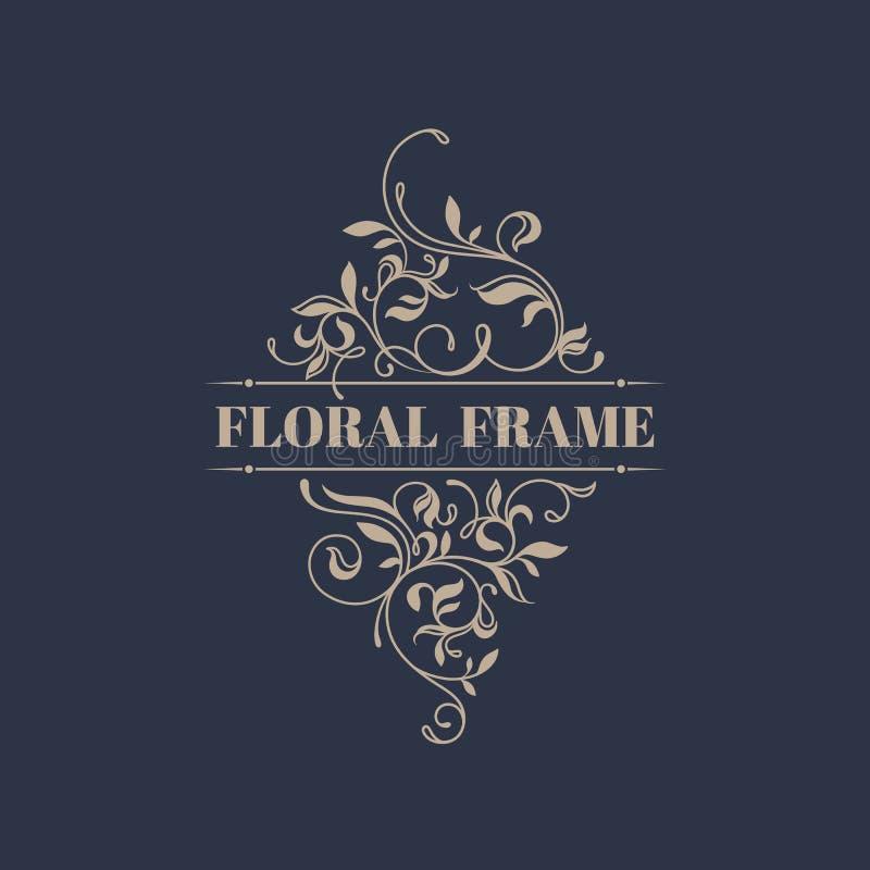 Floral frame. Template signage, labels, stickers, cards. stock illustration