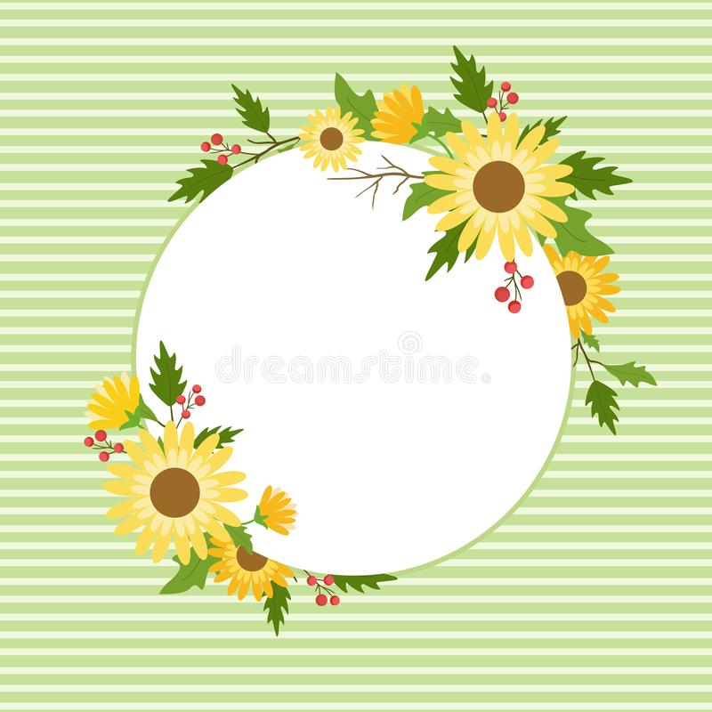 Floral frame template for wedding invitation, greeting card, and banner. stock illustration