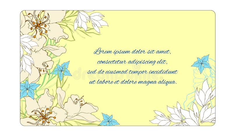 Floral frame for text. Postcard for congratulations with spring flowers on a yellow background. Vector illustration vector illustration