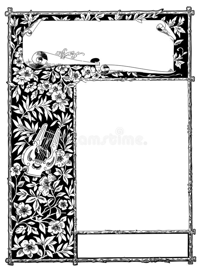Floral frame to customise with own text stock illustration