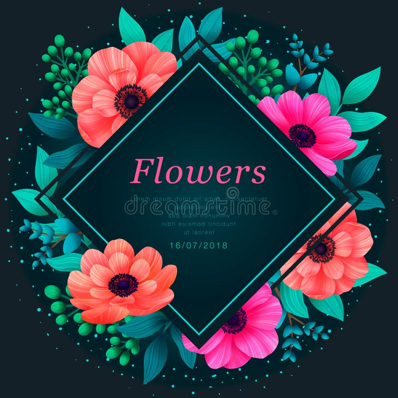 Floral frame. Tropical flowers trendy template. Design with beautiful neon flowers and palm leaves with copy space on stock illustration