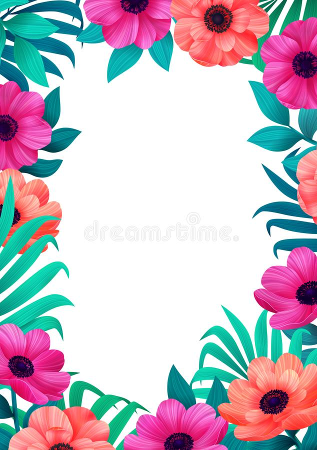 Floral frame. Tropical flowers trendy template. Vertical Design with beautiful flowers and palm leaves with copy space stock illustration